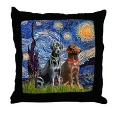 Starry / 2 Labradors (Blk+C) Throw Pillow