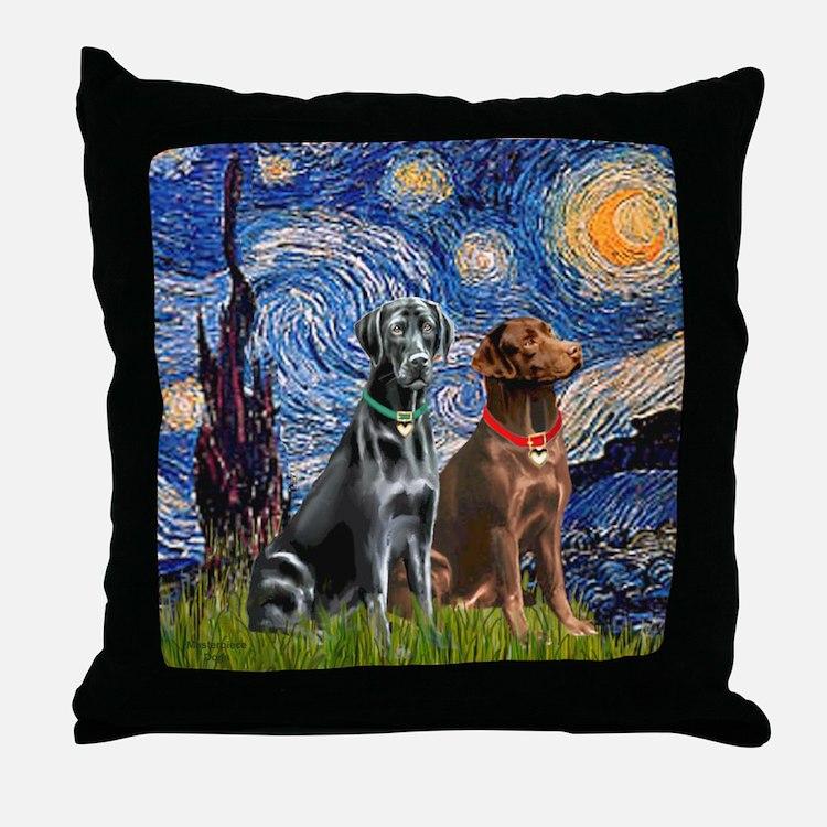 Starry / 2 Labradors (Blk+C) Throw Pillow
