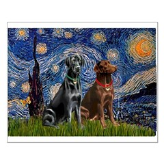 Starry / 2 Labradors (Blk+C) Posters