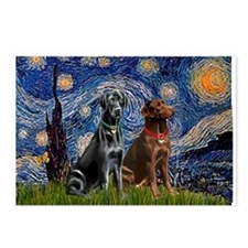 Starry / 2 Labradors (Blk+C) Postcards (Package of