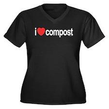 I Love Compost Women's Plus Size V-Neck Dark T-Shi