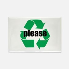 Please Recycle Sticker Button Rectangle Magnet