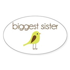 mod biggest sister t-shirt birdie Oval Decal