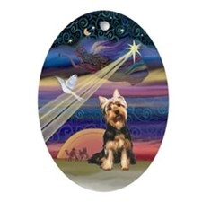 Silky Terrier Christmas Star Oval Ornament