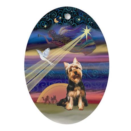 Silky Terrier Christmas Star Oval Ornament