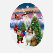 Sable-White Sheltie Christmas Tree Oval Ornament