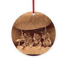 Kittens in Flight Ornament (Round)