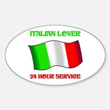 Italian Lover 24 Hour Service Oval Decal