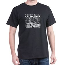 SUNNY CALIFORNIA - Whites on Black T-Shirt