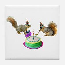Squirrels Birthday Tile Coaster