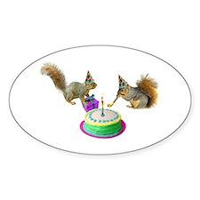 Squirrels Birthday Oval Decal