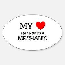 My Heart Belongs To A MECHANIC Oval Decal
