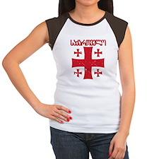 Georgia Distressed Women's Cap Sleeve T-Shirt