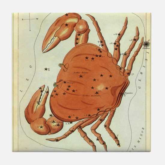 Vintage Celestial Zodiac, Cancer Tile Coaster