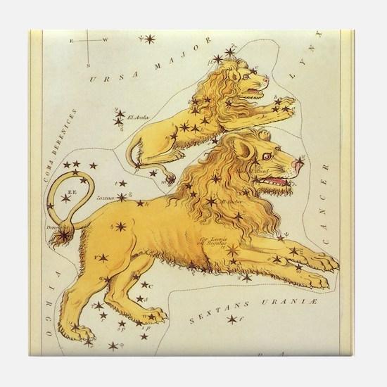 Vintage Celestial Zodiac, Leo Tile Coaster