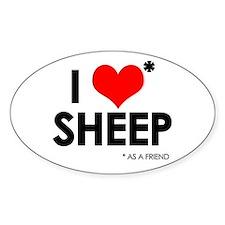 I Love* Sheep Oval Decal