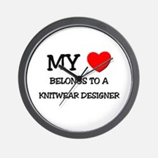 My Heart Belongs To A KNITWEAR DESIGNER Wall Clock