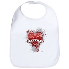 Heart Latvia Bib