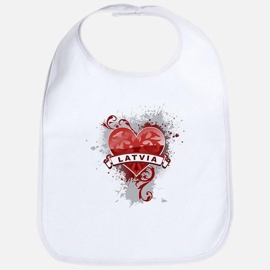 Heart Latvia Bib