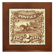 Cowboy 2 Cent Stamp Framed Tile