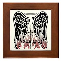 Black Angel Wings Framed Tile