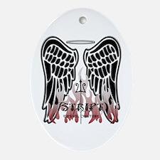 Black Angel Wings Oval Ornament