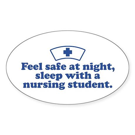 Funny Nursing Student Oval Sticker