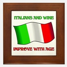 Italians and Wine Improve With Age Framed Tile