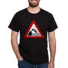 Cliff Warning Sign Black T-Shirt