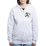 Black Line Horse Women's Zip Hoodie