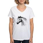 Black Line Horse Women's V-Neck T-Shirt