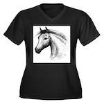 Black Line Horse Women's Plus Size V-Neck Dark T-S