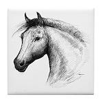 Black Line Horse Tile Coaster