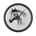 Black Line Horse Large Wall Clock