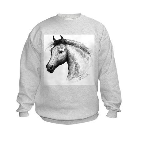 Black Line Horse Kids Sweatshirt
