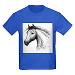 Black Line Horse Kids Dark T-Shirt