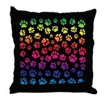 Rainbow Cat Tracks Pawprints on Throw Pillow