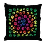Rainbow Cat Tracks Pawprints Throw Pillow
