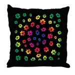 Rainbow Dog Tracks Pawprints Throw Pillow