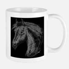 White Line Horse Mug