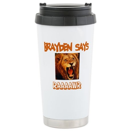 Brayden Says Raaawr (Lion) Stainless Steel Travel
