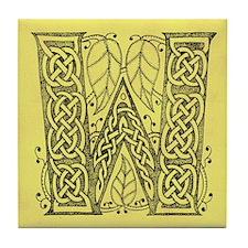 Celtic Letter W Tile Coaster