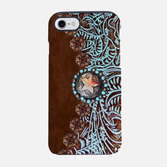 Western turquoise tooled leath iPhone 7 Tough Case