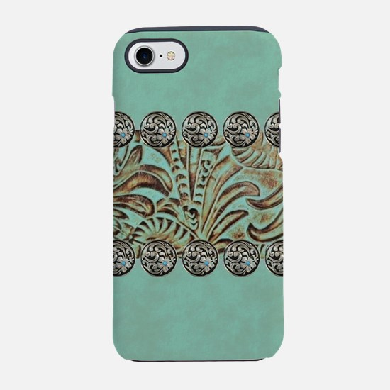 teal western tooled leather iPhone 7 Tough Case