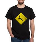 Deer Crossing Sign Black T-Shirt