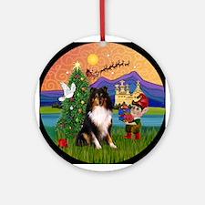 Tri Color Sheltie Xmas Fantasy Ornament (Round)