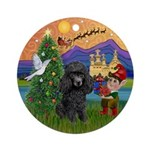 Black Toy Poodle Xmas Fantasy Ornament (Round)