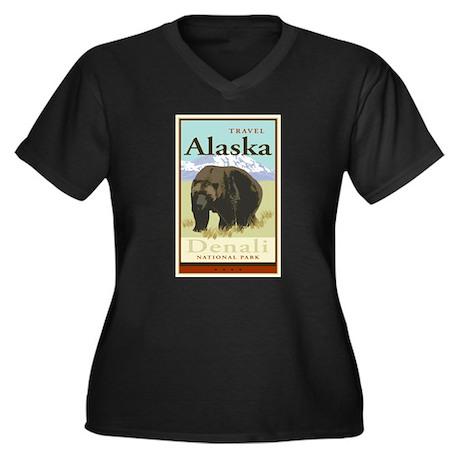 Travel Alaska Women's Plus Size V-Neck Dark T-Shir