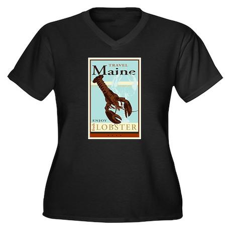 Travel Maine Women's Plus Size V-Neck Dark T-Shirt