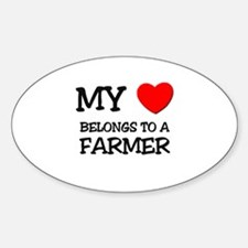 My Heart Belongs To A FARMER Oval Decal